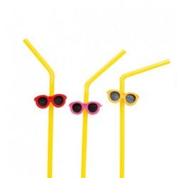 """Pailles décorées flexibles """"Lunettes"""""""