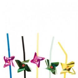 """Pailles décorées flexibles """"Moulins"""""""