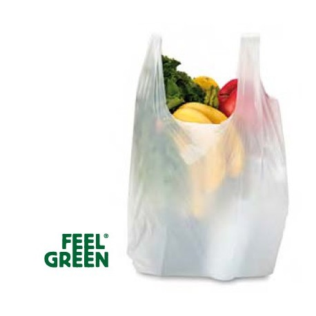 Sac bretelle blanc biodégradable Feel Green (x200)