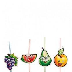 Pailles décorées flexibles Fruits (x1000) - Taille : 24 cm