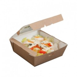 Boîte salade Kraft Carré (x300) - Taille : 12,5 x 12,5 x 5 cm