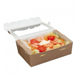 Boîte salade Kraft Rectangle (x200) - Taille :  1L