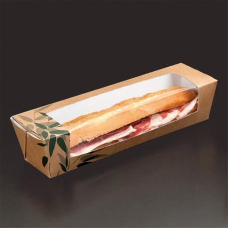 Boîte Sandwiches Baguettes Feel Green (x180) - Taille : 26 x 6,5 x 6,2 cm