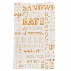 Sachet Burger et hot dog Parole (x500) - Taille : 14 + 7 x 22 cm