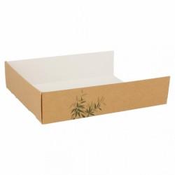 Plateau en carton pour pizza Feel Green (x1000) - Taille :  15 x 12 x 3,5 cm