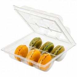 Boîte plastique pour 6 macarons (x200) - Taille : 13,5 x 12,7 x 5 cm