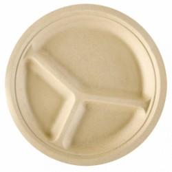 Assiette Canne à sucre avec compartiments (x800) -  Taille : Ø 26 x 2,6 cm