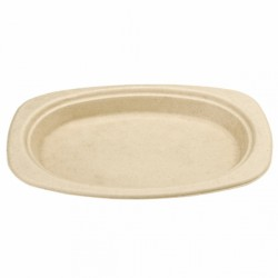 Assiette Canne à sucre ovale (x800) - Taille :  23,3 x 16,5 x 2 cm