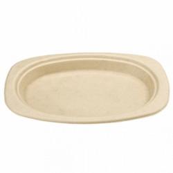 Assiette Canne à sucre ovale (x500) - Taille : 32 x 25,5 x 2,1 cm