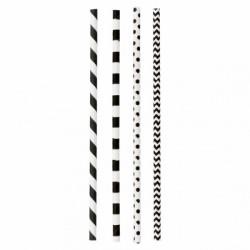 Assortiment de paille noire rayés et à pois (x 3000) Taille : Ø 0,60x20 CM