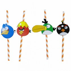 Paille en papier Angry birds (x 100) Taille : Ø 0,60x24 CM