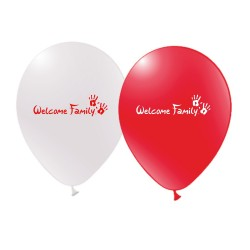 Ballons de baudruche Welcome Family rouge ou blanc