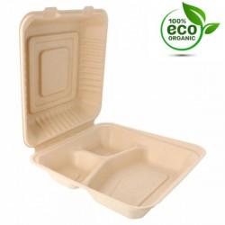 Boîte Canne à sucre 3 compartiments Médium (x200) - 20 x 20 x 7,5 cm