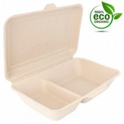 Boîte Canne à sucre Rectangulaire  2 compartiments (x500) - Taille : 1L