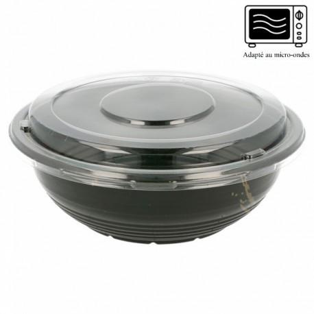 Bol plastique noir avec couvercle (x400) 900 ml