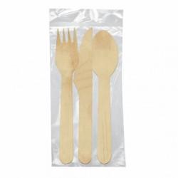 Set fourchette, couteau, cuillère Bois (x100)