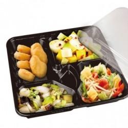 plateau repas en plastique noir - 4 compartiments (x200) - Taille : 24,2 x 18,2 x 4,5 cm
