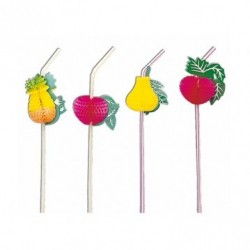 Paille flexible Fruit (x100) - Taille : 33 cm